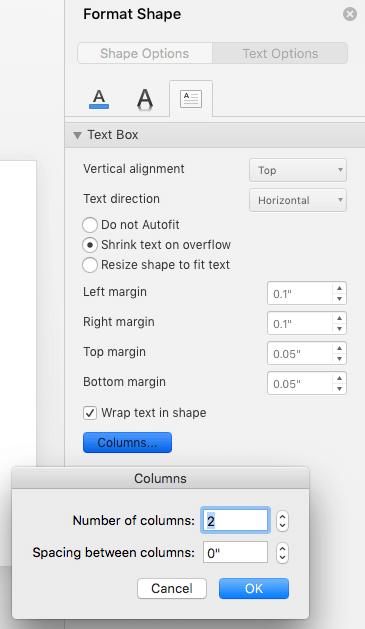 The Columns option in the Format Shape pane helps you arrange text in columns