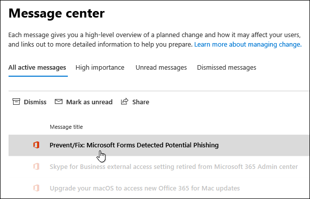 Message in Microsoft 365 admin center about Microsoft Forms phishing detection