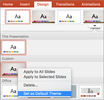 set a default theme for your presentations powerpoint for mac