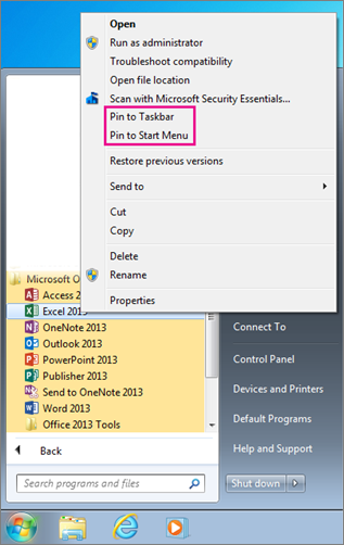 Pin Office app to Start menu or taskbar in Windows 7