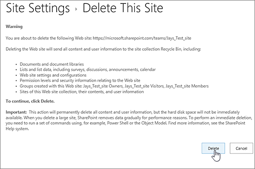 Delete site warning and confirmation screen