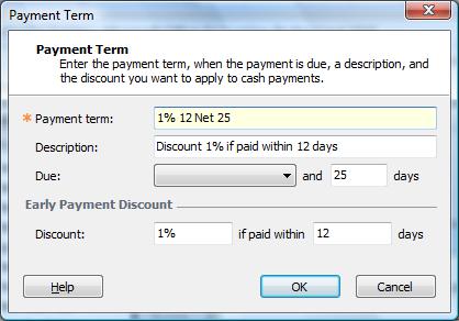 payment term dialog box