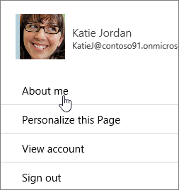 The Profile dialog, with About Me highlighted.