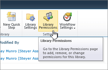 Library permissions button on the ribbon