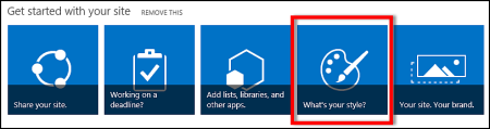 Newly created site in SharePoint online, showing clickable tiles for further customizing site