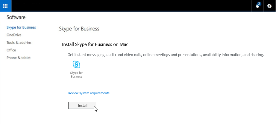 Install Skype for Business on Mac page