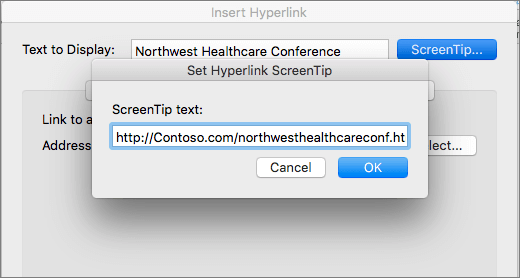 Screenshot of the Insert Hyperlink dialog and ScreenTip text dialog