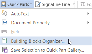 Selecting the Building Blocks Organizer on the Quick Parts menu
