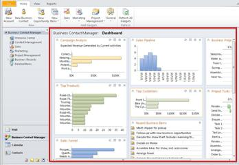 Business Contact Manager for Outlook 2010 Dashboard with red box around Dashboard area.
