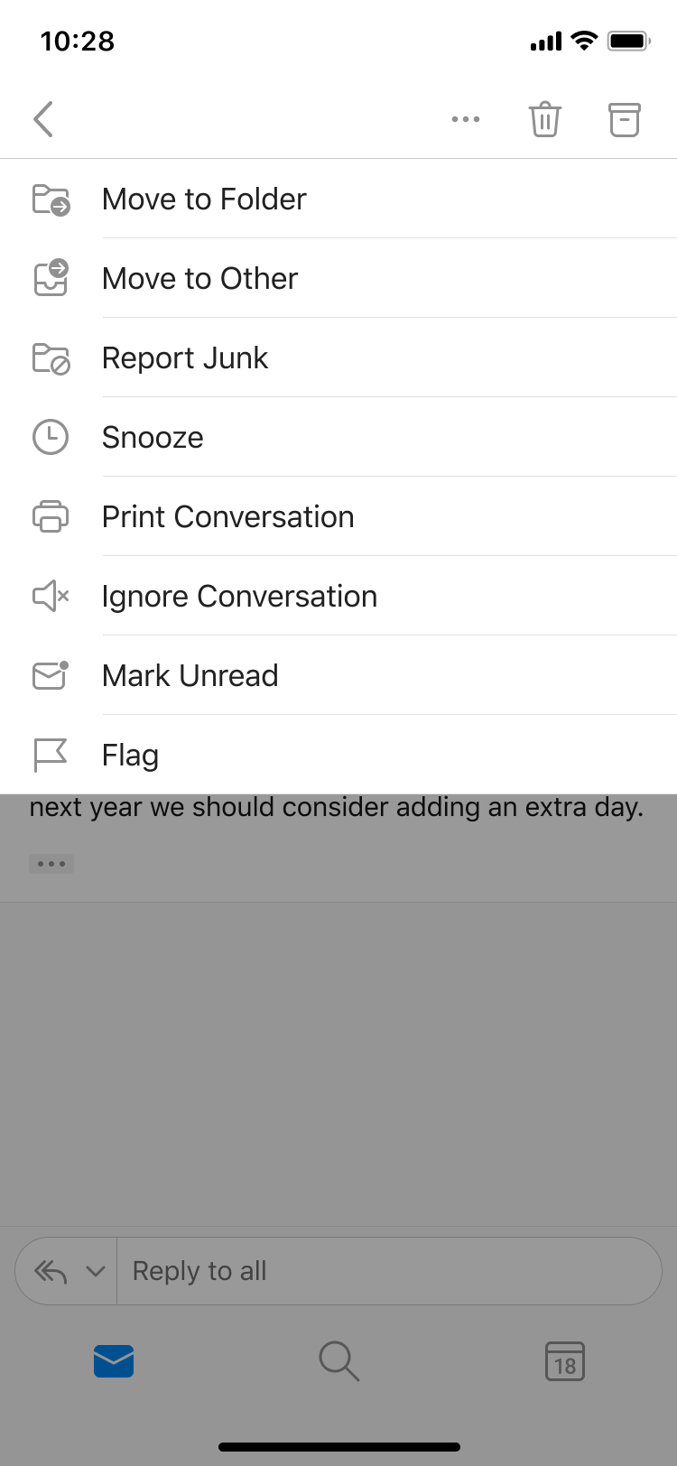 Drop down menu showing option to flag an email.