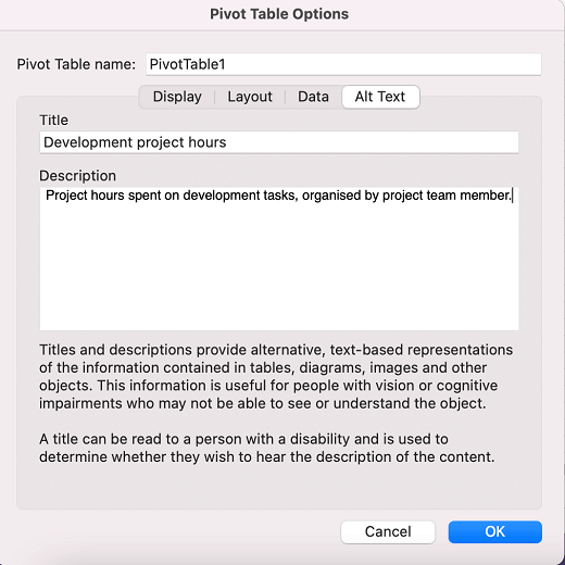 Pivot Table Options in Excel for Mac.