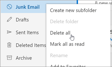 A screenshot shows the Delete all option selected for the Junk Email folder.