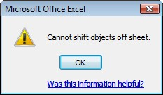Cannot shift objects off sheet message box