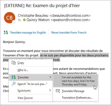 Context menu for translation