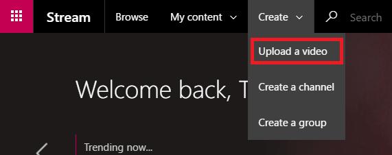 Upload a video to Microsoft Stream