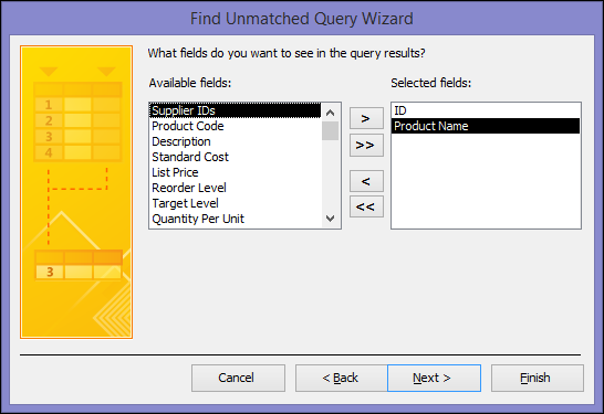 Select the fields you want to see in the query output in the Find Unmatched Query Wizard dialog box
