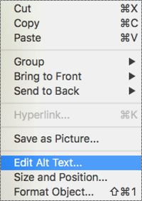 Edit Alt Text option in the context menu in PowerPoint for Mac