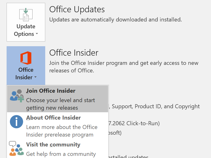 Office Insider button on File > Account screen_C3_201711139559