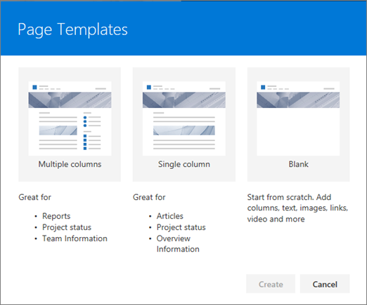 Add a page to a Communication site - SharePoint
