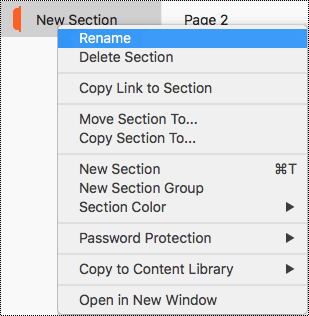 Section context menu with Rename section highlighted.