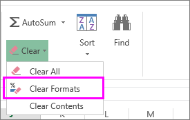 use the clear format button to remove formatting