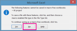 Workbook contains macros or VBA code