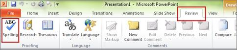 PowerPoint Spelling command