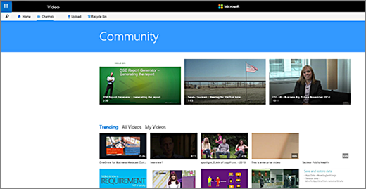 Office 365 video community page