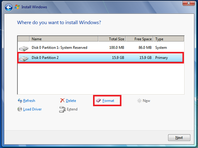 Select Disk 0 partition 2, and then click Formatting.
