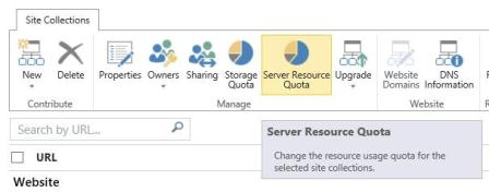 Server Resource Quota in the Manage group