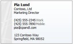 Pia Lund business card