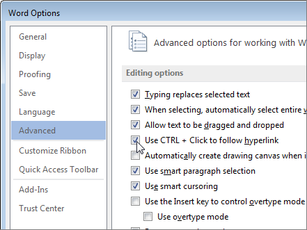 Word Options dialog box