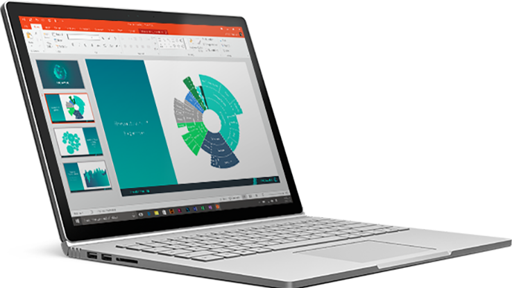 A Surface book showing PowerPoint with a chart on the slide