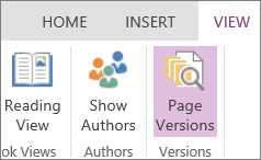 OneNote Online View menu with Page Versions selected