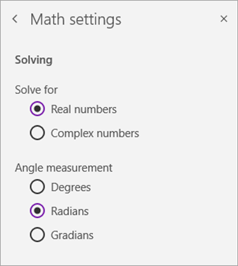 Solve for number types or angle measurement in Math settings.