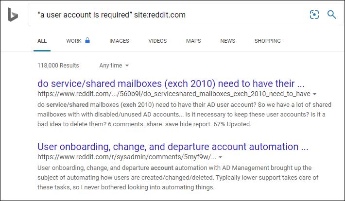 Reddit search results