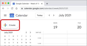 Select Create in Google calendar