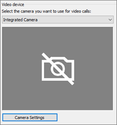 Video device camera settings