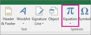 Equation button on the Excel 2016 ribbon