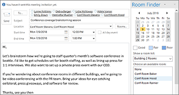 Draft meeting invite on the left and Room finder pane on the right