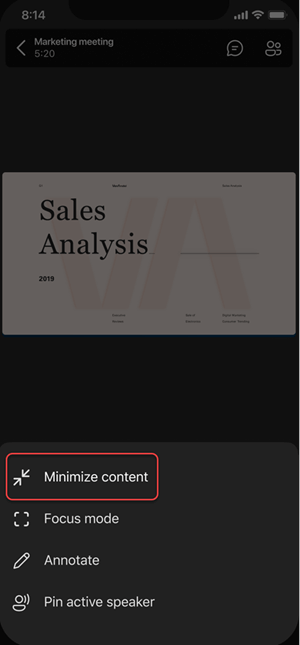 Option in the menu to minimize content