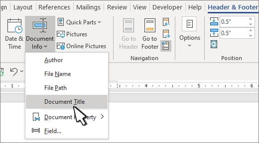 Add the file name, date, author or other document properties