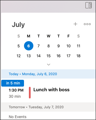 My Day menu for Outlook Mac.