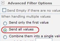Click Send all values in the Advanced Filter Options.