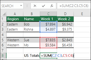 Using SUM with non-contiguous ranges.  Cell C8's formula is =SUM(C2:C3,C5:C6). You could also use Named Ranges, so the formula would be =SUM(Week1,Week2).