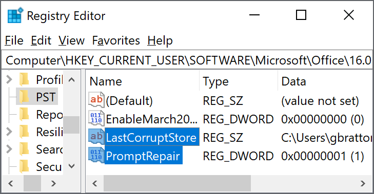 "Registry settings to delete  ""LastCorruptStore"" ""PromptRepair""=dword:00000001"