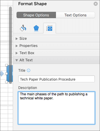 Screenshot of the Alt Text area of the Format Shape pane describing the selected SmartArt graphic
