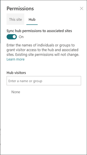 Hubs permissions panel, toggle on