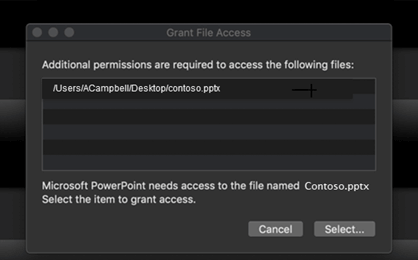 A dialog box showing the Mac OS requiring additional permissions to access a file.