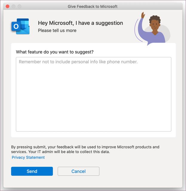 Feedback dialog for Outlook in MacOS
